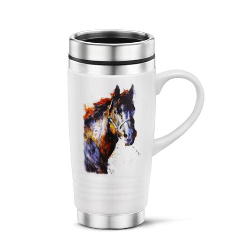 Horse, Bug and Bird Watercolor Stainless Steel Travel Mugs-Beautiful! - The Pink Pigs, Fine Jewels and Gifts for People who Love Animals!