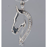 Horse Pendant with CZ in 925 Silver, Elegant and Beautiful!-The Pink Pigs, A Compassionate Boutique