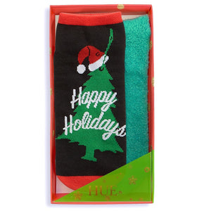 Hue 2-Pack Footsie Socks Christmas Gift Box - Happy Holidays, Fa La La, Santa