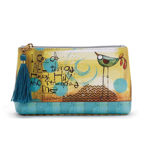 """I Can Do All Things..."" Cosmetic Bag-A great reminder throughout our day! - The Pink Pigs, Fine Jewels and Gifts for People who Love Animals!"