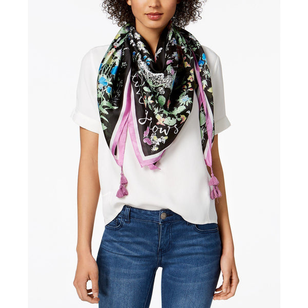 INC International Concepts Garden Poem Square Scarf in Black-The Pink Pigs, A Compassionate Boutique