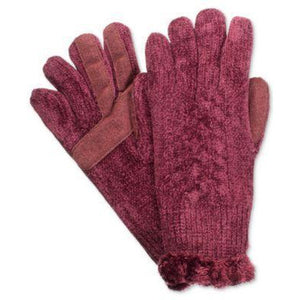 Isotoner Chenille Knit Gloves-One Size, Black,Tan or Burgundy Color - The Pink Pigs, Fine Jewels and Gifts for People who Love Animals!