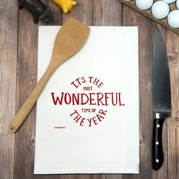 It's the MOST Wonderful Time of the Year Christmas Tea Towel-Handmade with LOVE in the USA-The Pink Pigs, A Compassionate Boutique