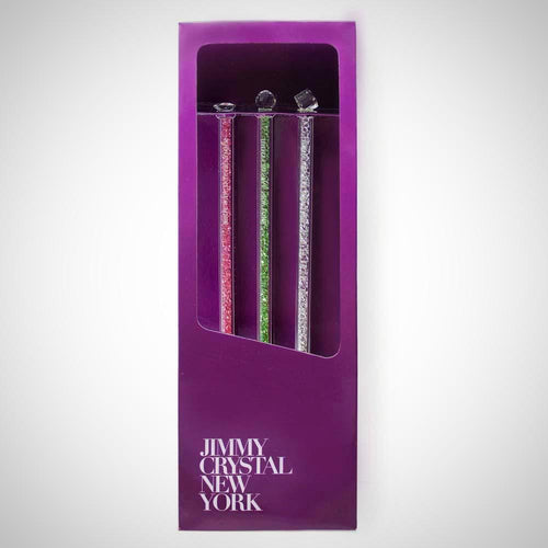 Jimmy Crystal Swarovski Crystal Cocktail Stirrers Set of 3 in Clear and Assorted Colors