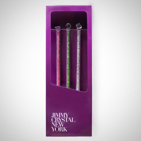 Jimmy Crystal Swarovski Crystal Cocktail Stirrers Set of 3 in Clear and Assorted Colors-The Pink Pigs, A Compassionate Boutique