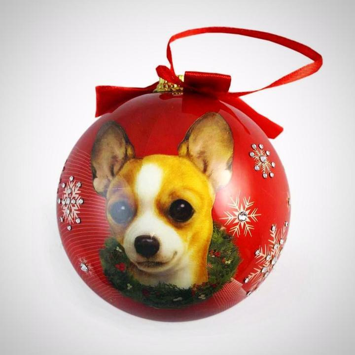 Jimmy Crystal Dog Christmas Ornaments-Dachshund, Chihuahua, Lhasa, Golden, French Bulldog, etc