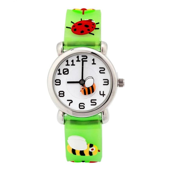 Kid's 3D Watch with Bees, Bugs, Cops & Animals! So Cute & Colorful! Quartz-The Pink Pigs, A Compassionate Boutique