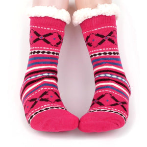Ladies & Girls Slipper Socks, Thick & Fuzzy Sherpa Slipper Socks, 5 Varieties SZ 4-10shoe