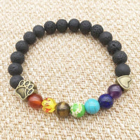 Pet Paw Lava Stone 8mm Beaded Bracelets with Rainbow Chakras DIY Aromatherapy Diffuser Bracelets-The Pink Pigs, A Compassionate Boutique