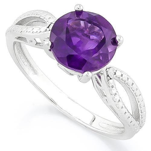 Lovely 1.96ctw Amethyst & Diamond Platinum over 925 Silver Ring-The Pink Pigs, A Compassionate Boutique
