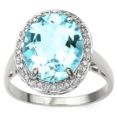 Lovely 6ctw Baby Swiss Blue Topaz and Diamond Ring in 925 Silver - The Pink Pigs, Fine Jewels and Gifts for People who Love Animals!