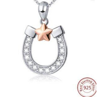 Lucky Horseshoe Sparkling Necklace in 925 Sterling Silver-The Pink Pigs, A Compassionate Boutique