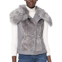 Guess Sleeveless Posh Faux-Fur Vest XS/S Stone Grey-The Pink Pigs, A Compassionate Boutique