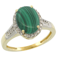 Malachite & Diamond Halo Ring in 10K Yellow Gold-Perfect and Affordable Engagement Ring!-The Pink Pigs, A Compassionate Boutique