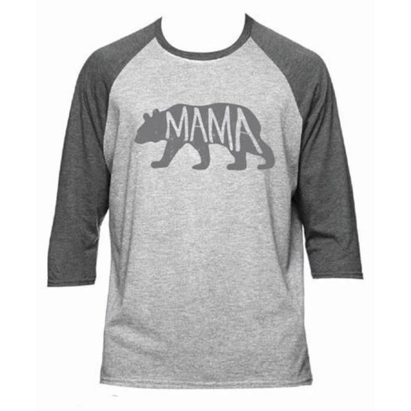 Mama Bear Baseball Style T Shirt in Heather Gray-The Pink Pigs, A Compassionate Boutique