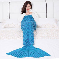 Mermaid Tail Blanket Knitted Crochet Handmade Blanket for Kids & Adult Kids!-The Pink Pigs, A Compassionate Boutique