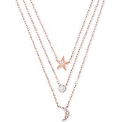 Michael Kors Rose Gold-Tone Stainless Steel Pavé Triple-Row Celestial Pendant Necklace-The Pink Pigs, A Compassionate Boutique
