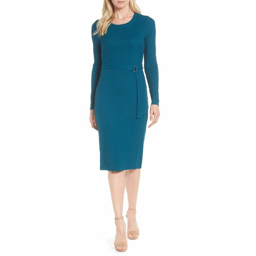MICHAEL Michael Kors Womens Ribbed Knit MIDI Blue Sweaterdress NWT SZ Med