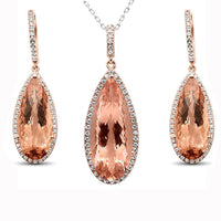 Morganite and Diamond Jewlelry SET in 10K Rose Gold-SPECTACULAR!-The Pink Pigs, A Compassionate Boutique