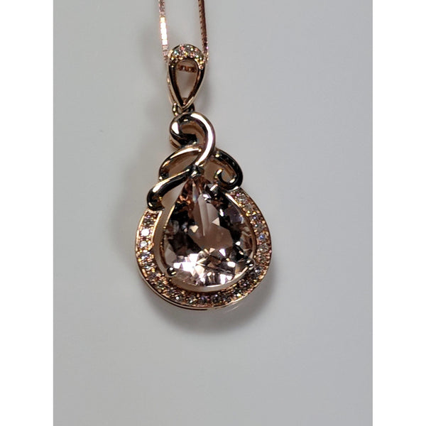 Morganite and Diamond Pendant Necklace in 18K Rose Gold, 2.08ctw-The Pink Pigs, A Compassionate Boutique
