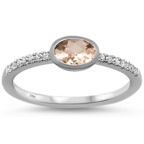 Morganite and Diamond Trendy Minimalist Ring in 14K White Gold, Very Chic , meet Jenn-The Pink Pigs, A Compassionate Boutique
