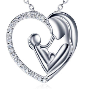 Mother and Child Necklace in Genuine 925 Sterling Silver with CZ-Perfect Gift for the New Mom! - The Pink Pigs, Fine Jewels and Gifts for People who Love Animals!