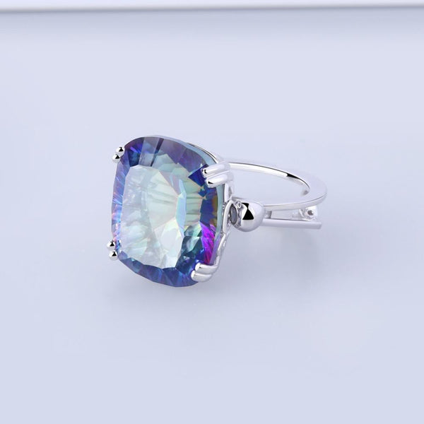 Natural Rainbow Fire Mystic Topaz Ring, 18.42cts in 925 Silver. Big, Bold, Beautiful!-The Pink Pigs, A Compassionate Boutique