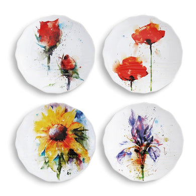 Nature, Bird & Horse Appetizer Plates-High End Gift for the Home by Artist Dean Crouser Set of 4 - The Pink Pigs, Fine Jewels and Gifts for People who Love Animals!