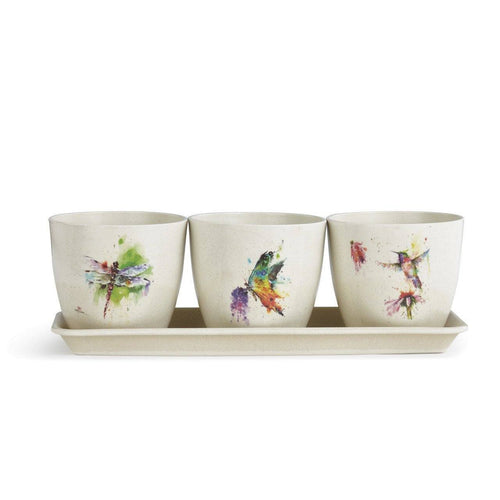 Nature Herb Pot Window Sill Planter Set by Artist Dean Crouser - The Pink Pigs, Fine Jewels and Gifts for People who Love Animals!