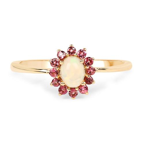 Opal and Pink Tourmaline Ring-Dainty and Sweet, Perfect for October Babies!-The Pink Pigs, A Compassionate Boutique