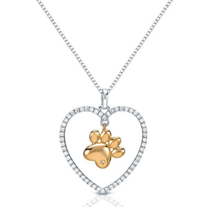 Paw in a Heart Necklace in Sterling Silver with Cubic Zirconia-Unique and Beautiful!