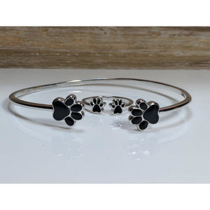 Paw Jewelry Set!  Necklace, Ring, Bracelet, Earrings in Sterling Silver for Pet Lovers!