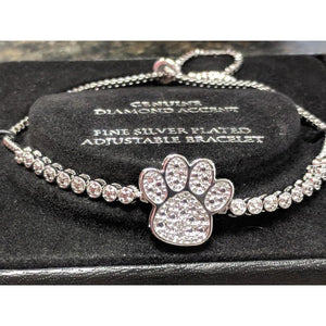 Paw Slider Bracelet-Silver Plated with Sparkling Diamonds 50% OFF
