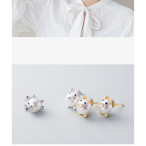 Pearl Pig Earrings-So CUTE!