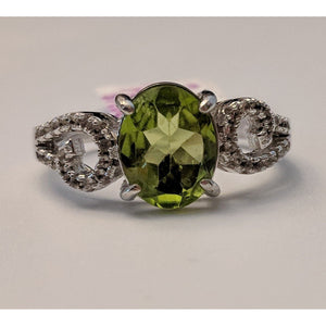 Peridot And Topaz in Platinum Plated Silver, Gorgeous Ring!
