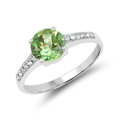 Peridot and Topaz Simple, Elegant Ring in Sterling Silver, Solitaire