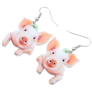 Acrylic CUTE Piggy Drop Earrings - The Pink Pigs, Fine Jewels and Gifts for People who Love Animals!