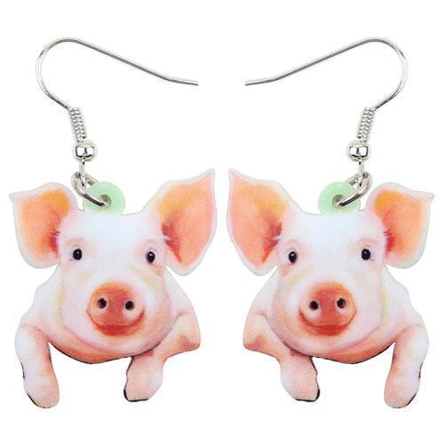 Pig Acrylic Drop Earrings & Necklace, Fashion Jewelry that's just CUTE!-The Pink Pigs, A Compassionate Boutique