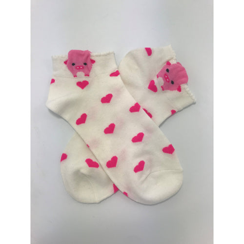 Pig Ankle Socks Athletic Socks With Cute Pink Pigs in white or sea foam green, Dog or Cat
