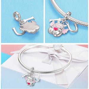 Pig Charms for Pig Lovers!  Thug Pig, Love You Pig and more!  Sterling Silver with CZ