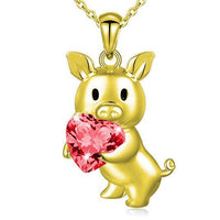 Pig Holding Heart Necklace, CUSTOM Made, Beautiful! CZ or REAL Garnet!-The Pink Pigs, A Compassionate Boutique