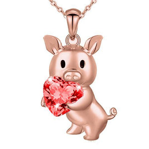 Pig Holding Heart Necklace, CUSTOM Made, Beautiful! CZ or REAL Garnet!