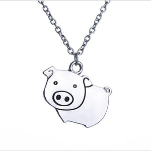 Pig Necklace!  Just for fun, Cute Silver Tone Fashion Necklace