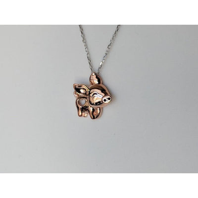 Pig Necklace Solid Sterling Silver Cut Out Heart-On Sale! Rose Gold Plated or Silver!-The Pink Pigs, A Compassionate Boutique