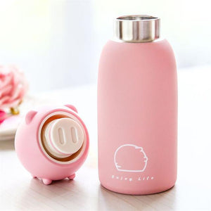 Pig Water Bottle- Stainless Steel Cuteness!  Piggy comes in 4 colors now!  Yay!