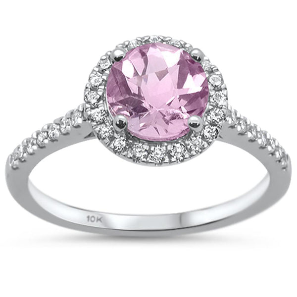 Pink Amethyst and Diamond Traditional Halo Ring in 10K White Gold, Brianna-The Pink Pigs, A Compassionate Boutique