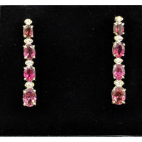 Pink Tourmaline and Diamond SET, 27.4ctw Necklace & 7.45ctw Earrings in 14K Gold, STUNNING!-The Pink Pigs, A Compassionate Boutique