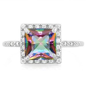 Princess Cut Mystic Topaz Ring with 24 Flawless Created Diamonds in Sterling Silver