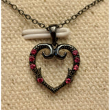 Punk Style Black Heart Pendant with Rubies in 925 Silver, Beautiful!