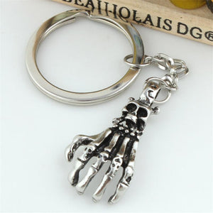 Punk Style Hand-Bone with Claws and Skulls Keyring-Scary Cute!
